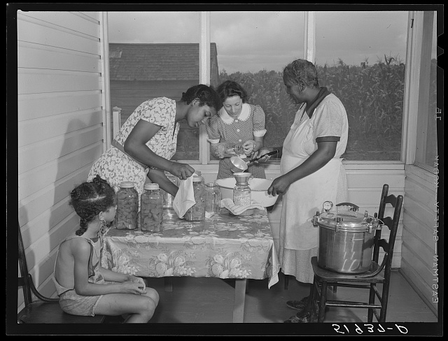 FSA (Farm Security Administration) home supervisor assisting wife and daughter of Frederick Oliver, tenant purchase client, in canning with new pressure cooker. Summerton, South Carolina