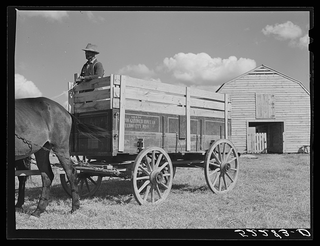 New wagon belonging the Cube Walker, FSA (Farm Security Administration) Negro tenant purchase client. Belzoni, Mississippi Delta, Mississippi
