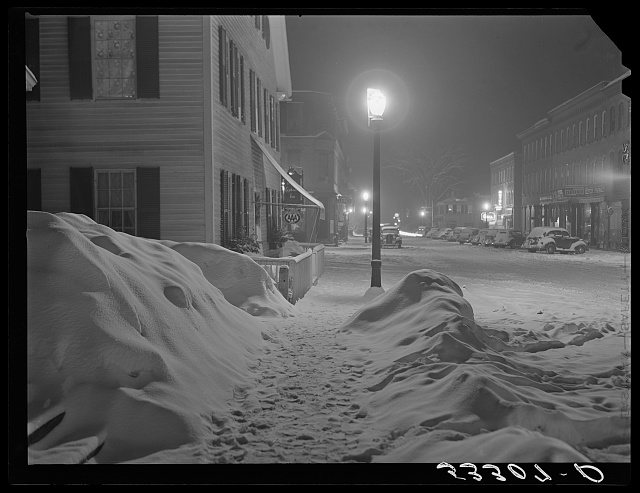 "Center of town. Woodstock, Vermont. ""Snowy night"""