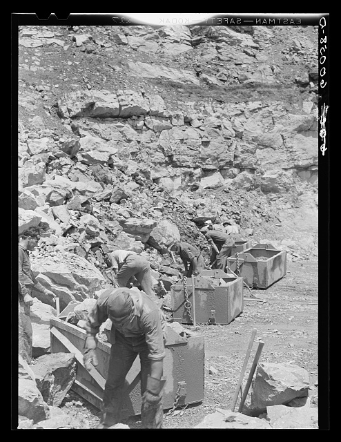 Workers in limestone quarry. Tygart Valley Homesteads, West Virginia