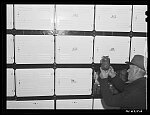 Farmer getting berries out of cold storage locker. Hillsboro, North Dakota