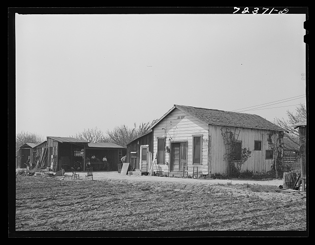 Los Angeles County, California. The evacuation of Japanese-Americans from West coast areas under United States Army war emergency order. Farm and buildings of Japanese farmer