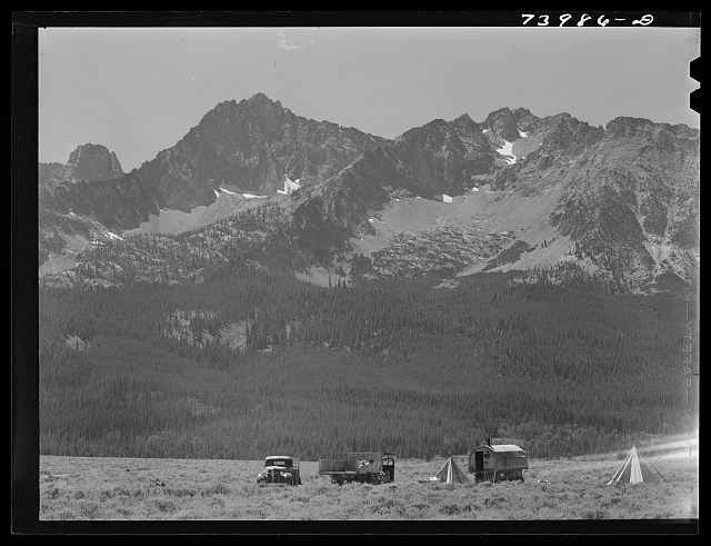 Custer County, Idaho. Sheepherders camp at the foot of the Sawtooth Mountains