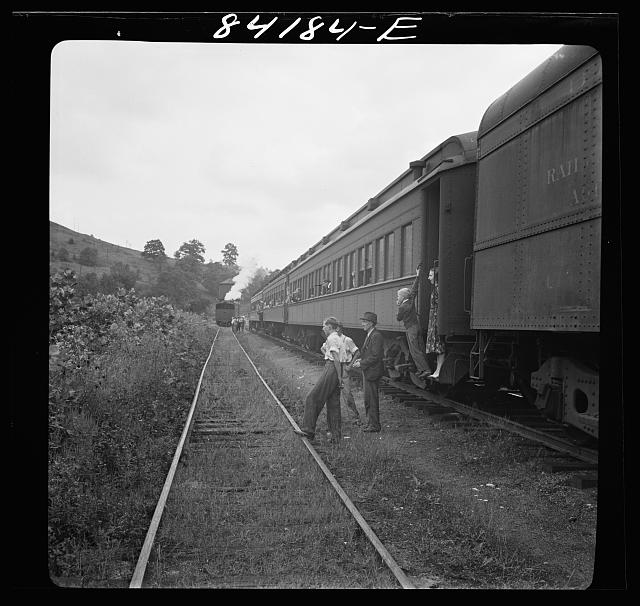 Picking up the Clay section of the special train carrying agricultural workers to upper New York state