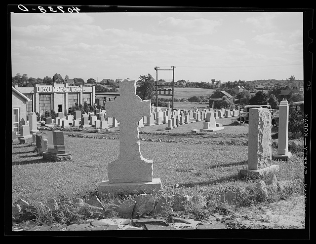 Grave monuments along U.S. Highway No. 1 outside Baltimore, Maryland