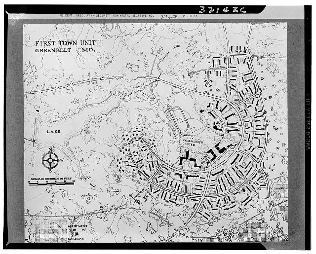 Map of first town unit at Greenbelt, Maryland