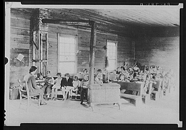 """Interior of """"little red schoolhouse."""" Crossville, Tennessee"""