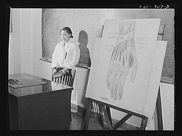 Chicago, Illinois. Provident Hospital. Mrs. H.J. Thompson, lecturing in a bacteriology class