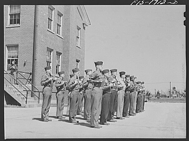 Setting up exercises at the U.S. Army chaplain school. Fort Benjamin Harrison, Indiana