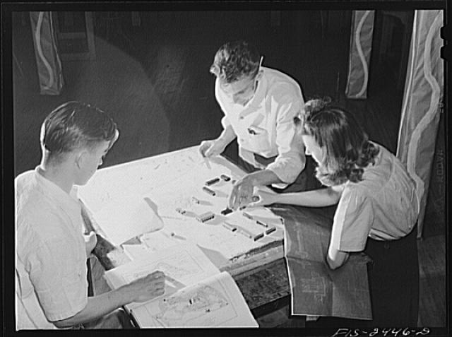 Mary Homans, John Staley and Edward Till, working on a model of a proposed NYA (National Youth Administration) training camp at the Landscape Architectural School. Iowa State College. Ames, Iowa