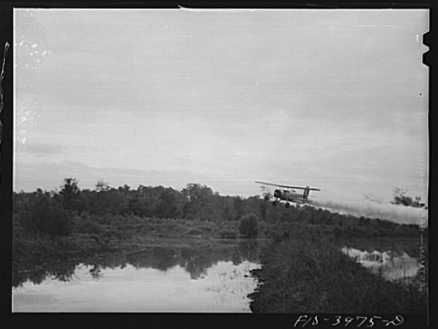 Tennessee River, Alabama (Tennessee Valley Authority (TVA)). At dawn, plane spreads insecticide on Tennessee River to destroy malaria-carrying mosquitoes