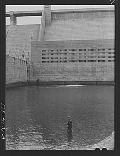 Norris Dam, Tennessee (Tennessee Valley Authority (TVA)). Fishing at base of Norris Dam