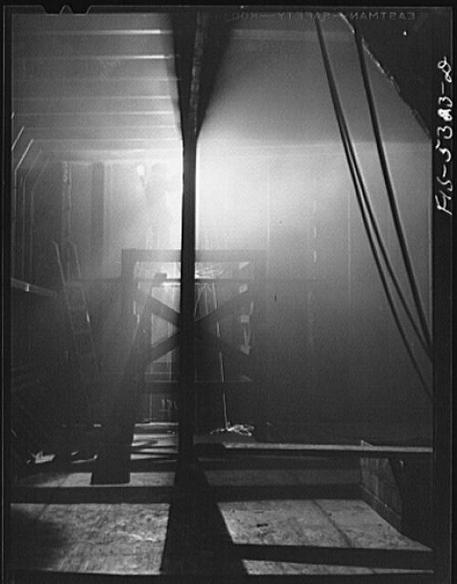 Decatur, Alabama. Ingalls Shipbuilding Company. A welder working on the bulkhead of a barge under construction