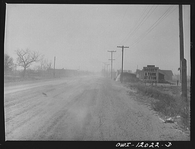 Portales, New Mexico. Dust blowing on the street