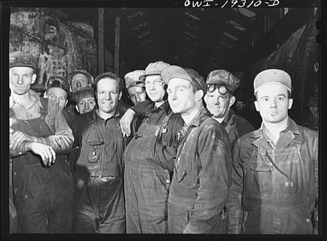 Topeka, Kansas. Workers employed at the Atchison, Topeka and Santa Fe Railroad locomotive shops