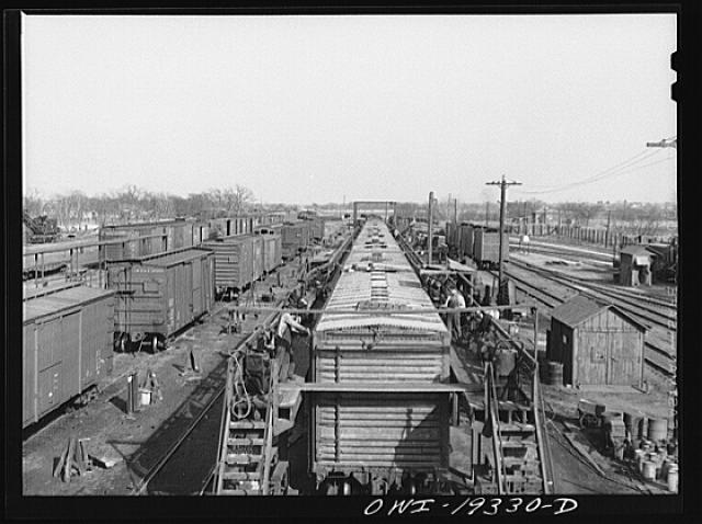 Topeka, Kansas. View of part of the Atchison, Topeka and Santa Fe Railroad car building shops