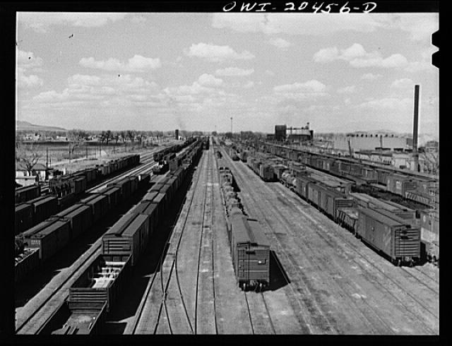 General view of a Atchison, Topeka and Santa Fe Railroad yard