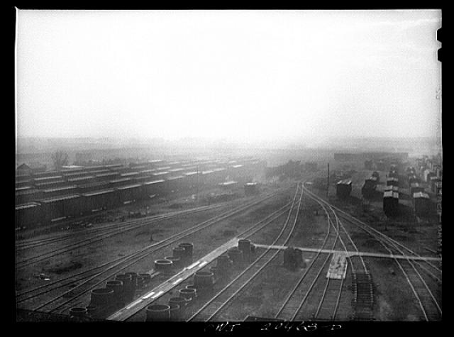 Sandstorm over a Atchison, Topeka and Santa Fe Railroad