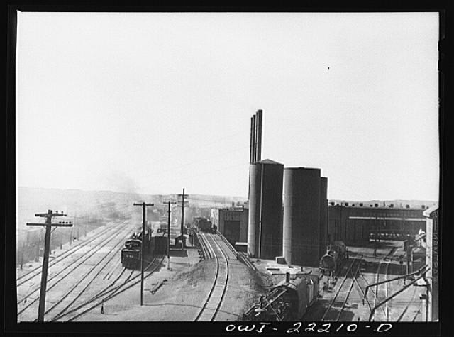 Atchison, Topeka, and Santa Fe Railroad yard and roundhouse