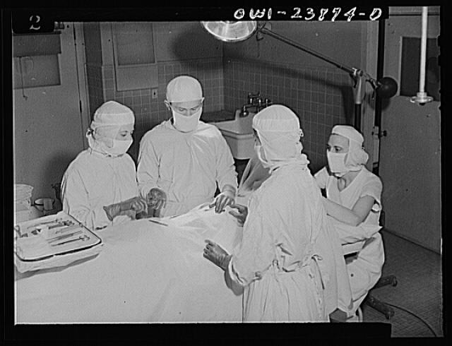 A thrilling experience for student nurses is the first assignment to the operating room. Student nurse Frances Bullock (left) hands instruments to a surgeon during an operation