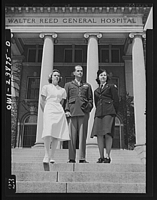 Three of Uncle Sam's soldiers stand on the steps of an Army hospital. Lieutenant Eleanor Whalen of Chicago (left), Army transport nurse; Major Edward Rector of Marshal, South Carolina, veteran AVD flyer; and Lieutenant Frances Bullock of the Army Medical Center in Washington, D.C. typify the spirit of America's soldiers and soldier-nurses standing strong in the fight against brutality and aggression