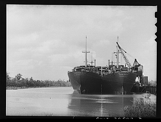 Beaumont, Texas. Cargo vessels waiting to be outfitted at the Pennsylvania shipyards
