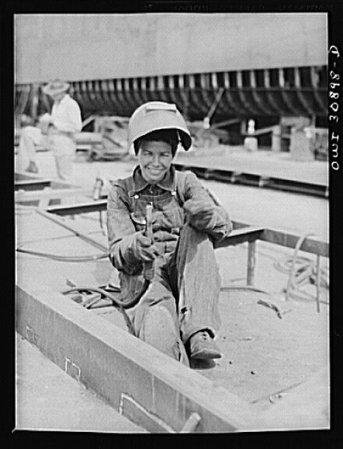 Beaumont, Texas. Woman welder at the Pennsylvania shipyards