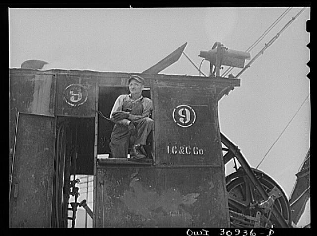 Beaumont, Texas. Crane operator at the International Creosoting Company