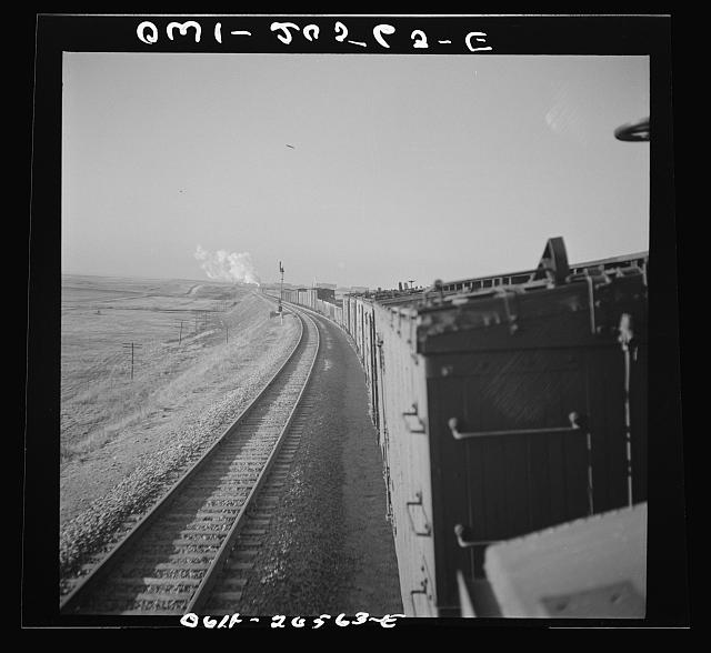 Canyon, Texas. Approaching the town on the Atchison, Topeka, and Santa Fe Railroad between Amarillo, Texas and Clovis, New Mexico