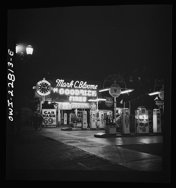 Hollywood, California. Gasoline filling station at night