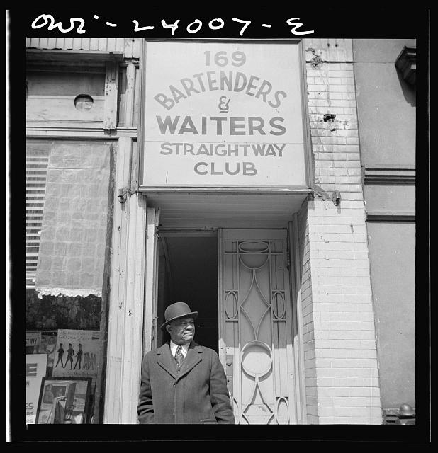 New York, New York. Bartenders' and waiters' club entrance in the Harlem area