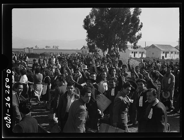 Stockton (vicinity), California. Mexican agricultural laborers arriving by train to help in the harvesting of beets