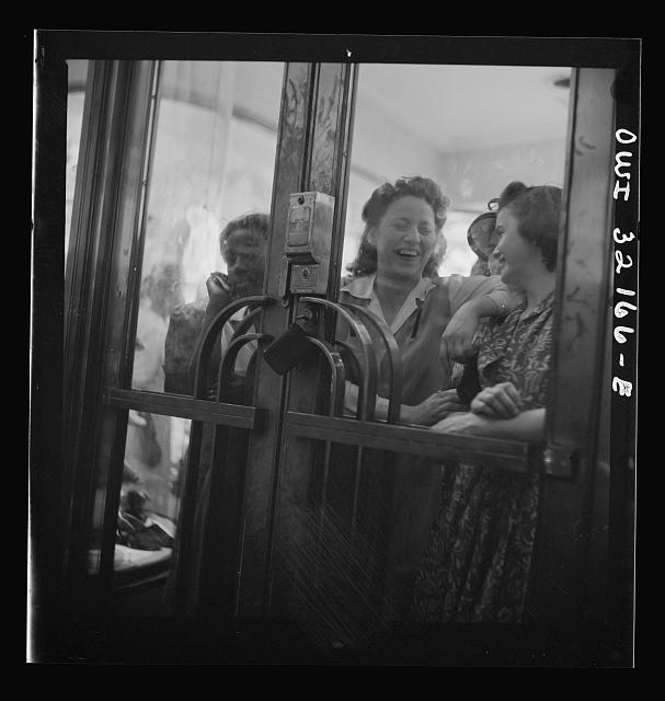 Washington, D.C. Crowds waiting for shoe store to open on the last day on which war ration shoe coupon seventeen may be used