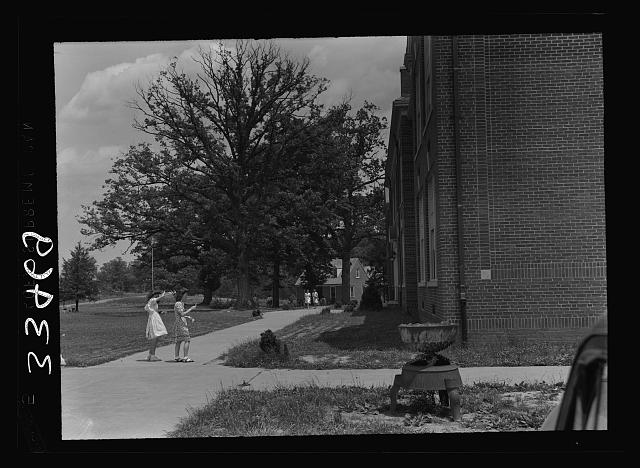 Keysville, Virginia. Randolph Henry High School. Main building. Home economics cottage in the background