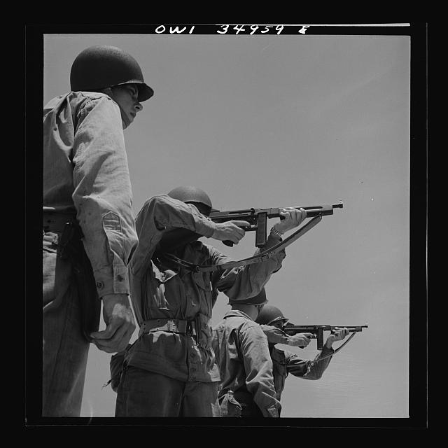 Daniel Field, Georgia. Air Service Command. Learning how to use the Thompson submachine gun. Firing from a standing position