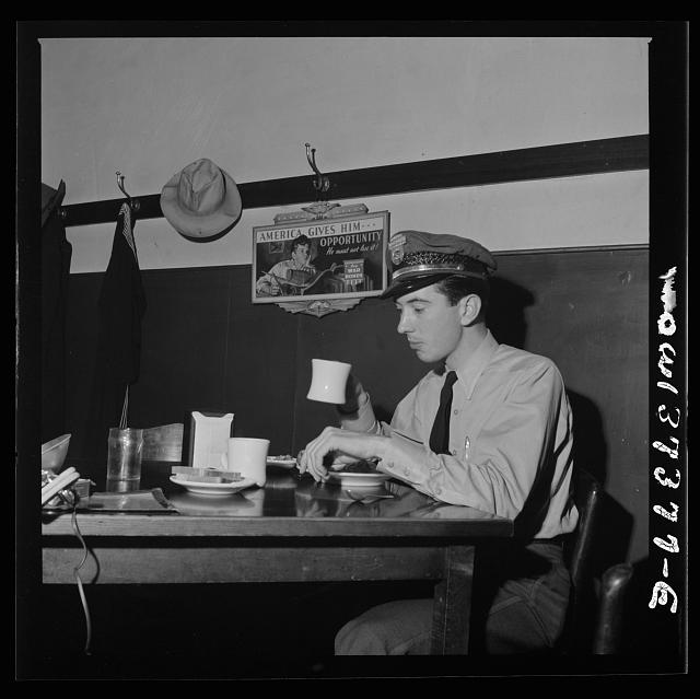 Columbus, Ohio. Lester Ward, a Great Lakes Greyhound bus driver who has just come in from a run