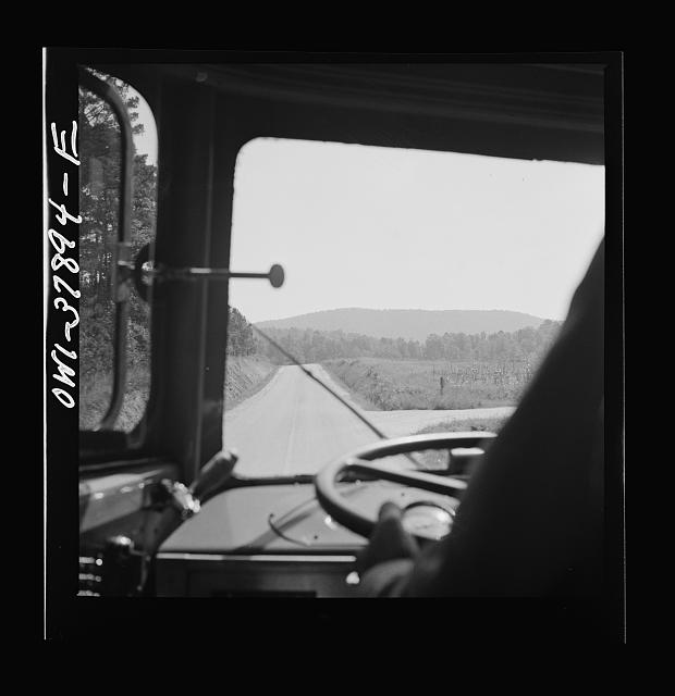 A Greyhound bus trip from Louisville, Kentucky, to Memphis, Tennessee, and the terminals. Georgia highway seen from bus enroute from Chattanooga to Rome, Georgia