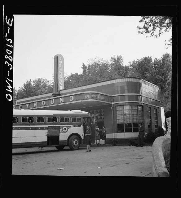 A Greyhound bus trip from Louisville, Kentucky, to Memphis, Tennessee, and the terminals. Rest stop between Nashville and Memphis