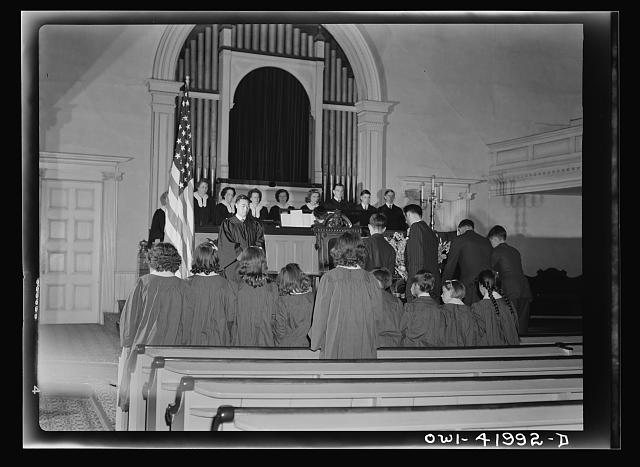 Southington, Connecticut. An American town and its way of life. The vested choir singing at a Sunday morning service