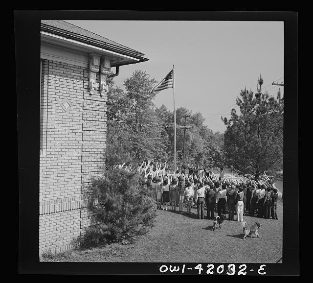 Southington, Connecticut. School children pledging their allegiance to the flag