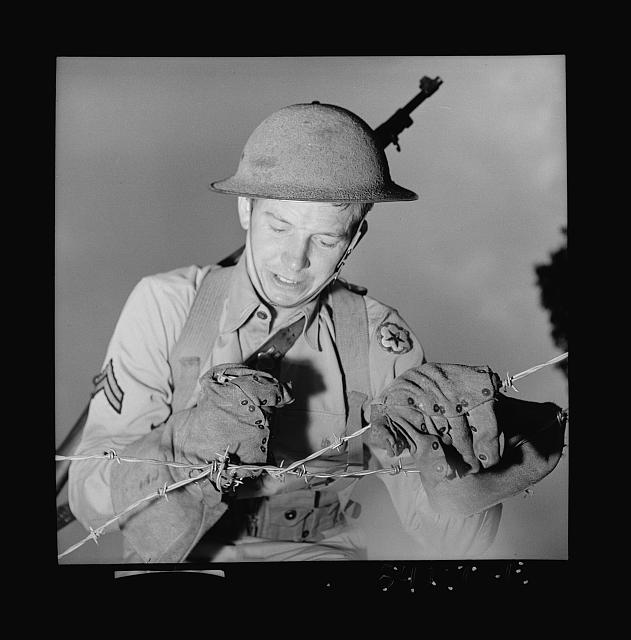 Fort Belvoir, Virginia. A soldier handling barbed wire with special gloves which are clasped instead of sewn together
