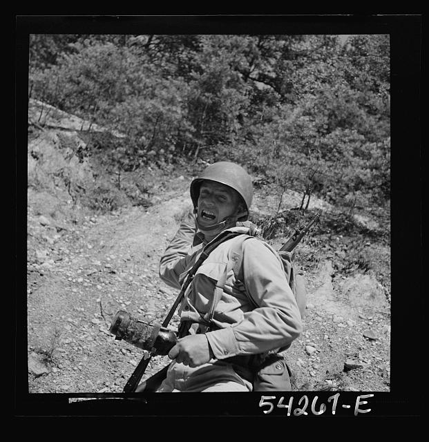 Fort Belvoir, Virginia. A soldier throwing a hand grenade