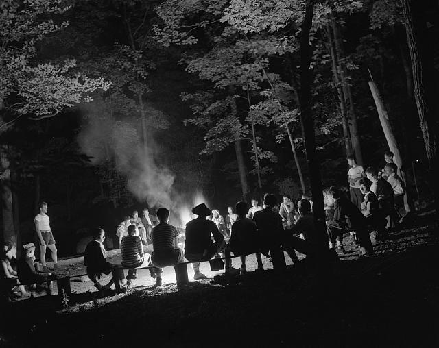 Southfields, New York. Interracial activities at camp Nathan Hale, where children are aided by the Methodist Camp Service. Campers of the Methodist Camp Service and other organizations, singing around the camp fire