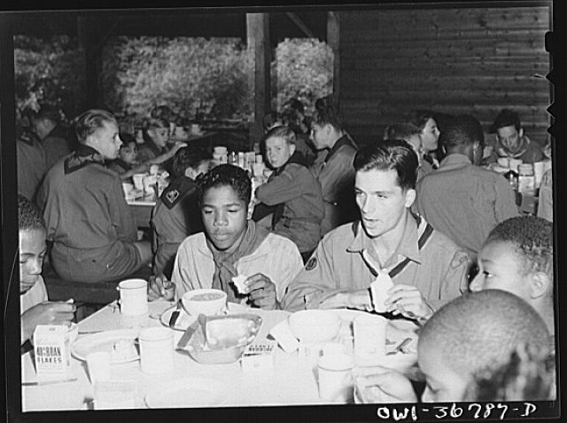 Tusten, New York. Interracial activities at Camp Brooklyn, where children are aided by the Methodist Camp Service. James Petioni of the Methodist Camp Service, troop no. 763, and George Filoppone, who is assistant scoutmaster for the troops during their stay