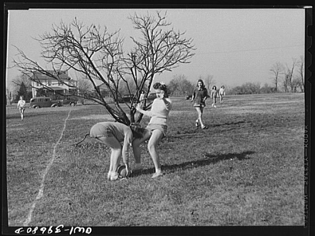 Washington, D.C. A speedball game in a physical education class at Woodrow Wilson High School