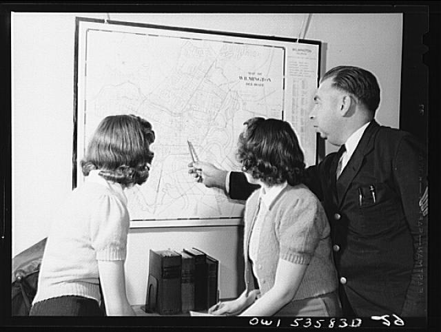 Wilmington, Delaware. Tower Hill School, noted country day school for pupils from three to eighteen years of age. Two high school girls, studying the map of Wilmington, Delaware