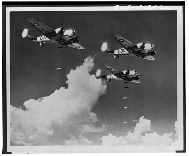 Carlsbad, New Mexico. AT-11 training bombers at the United States Army Air forces advanced flying school dropping practice bombs