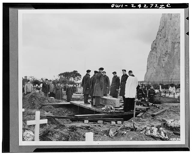 Funeral services for Private J. T. Mackall. Services presided over by Reverend J.S.M. Davies, of the British Army. Attending the funeral were Captain W. H. Jacobs, United States Army and medical officer, and first Lieutenant C.O. McCormick. Gibraltar Cemetery