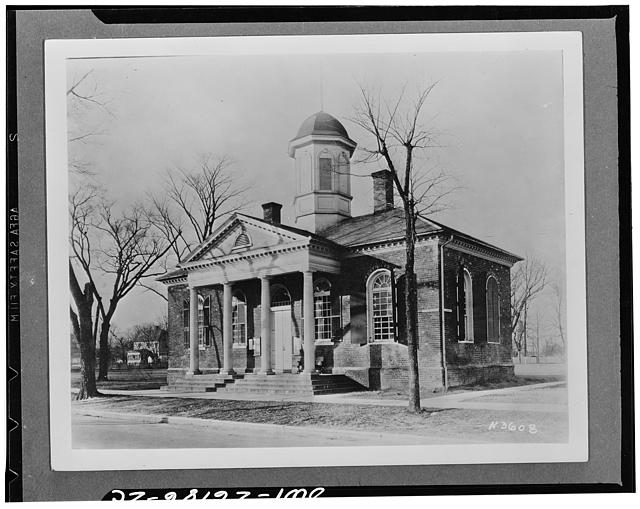 Williamsburg, Virginia. The capitol of the Virginia colony during the eighteenth century which was reconstructed and restored to its original state by John D. Rockefeller Jr. during the 1930s. The old courthouse before restoration