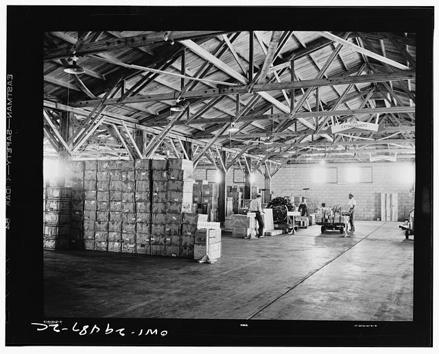A warehouse at a United States Army air transport command with cargo ready to be shipped
